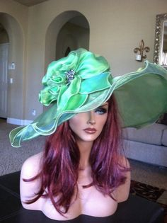 26f3ad79cecab Women s Kentucky Derby green - NEW - Church - Races - Sheer- Organza - Wedding- Hat - formal