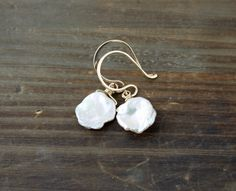 Keishi Pearl Earrings on 14k Gold Filled Ear Wires, Fresh water Pearl Earrings, White Petal Pearl Earrings