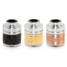 Ivogo's  top quality 1:1 version of the Mephisto RDA. It features massive post holes and can easily fit 20gauge quad coils. The giant flat head screws in the posts makes it easy to tighten them down securely. The large cyclops air holes are perfect for those who demand large airflow!