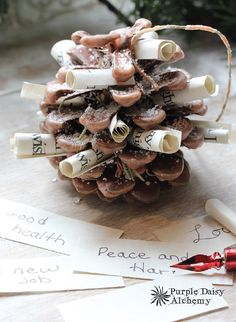 YULE WISHING CONE - Fire-starter, Charmed Pine Cone, Yule Wish Magick, Scented Pine Cone, Fireplace Candle, Campfire Lighter, Magick - Pinned by The Mystic's Emporium on Etsy