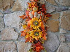 Large Fall Swag Autumn Swag Fall Wreath Fall by SwagsByKari, $65.00