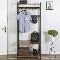 Angelica Hall Tree with Bench and Shoe Storage Wood Storage Bench, Entryway Storage, Bench With Shoe Storage, Storage Shelves, Storage Spaces, Storage Rack, Corner Hall Tree, Hall Trees, Entryway Hall Tree