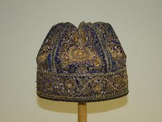 India, headdress, embroidered cotton, early 20th c