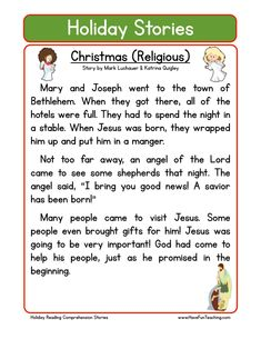 holiday stories comprehension christmas (religious)