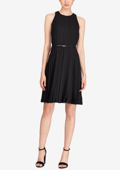 Polo Ralph Lauren - Pleated Fit-and-Flare Dress Little Black Dress Outfit, Black Dress Outfits, Dress Black, Fit Flare Dress, Fit And Flare, Ralph Lauren, Tomboy Fashion, Review Dresses, Belted Dress