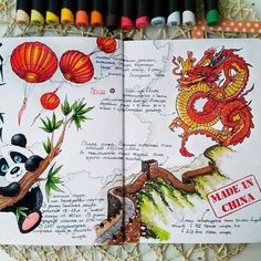 amazing travel journal inspiration for china, dragons panda, great wall of china. Art in a travel journal Travel Journal Scrapbook, Bullet Journal Travel, Bullet Journal Art, Bullet Journal Inspiration, Art Journal Pages, Travel Journals, Voyage Sketchbook, Travel Sketchbook, Art Sketchbook
