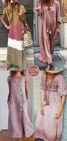 Womens casual maxi dress now OFF. Casual Summer Dresses, Casual Dresses For Women, Casual Outfits, Summer Outfits, Dress Shirts For Women, Clothes For Women, Cute Travel Outfits, Boho Fashion, Fashion Outfits