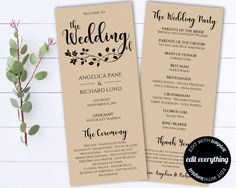 Mr and Mrs Wedding Program Template - Tea Length Program Template ...