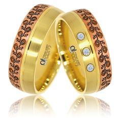 Verighete ATCOM Lux VOICHITA aur galben cu roz Bangles, Bracelets, Yellow Gold Rings, Band Rings, Nespresso, Gemstone Rings, Wedding Rings, Bling, Floral