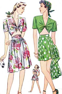 Vintage Sewing Pattern 1940s Simplicity 1020 Midriff Top, High Waist Skirt and High Waist Culotte Shorts Size 16 Bust 34. $18.00, via Etsy.