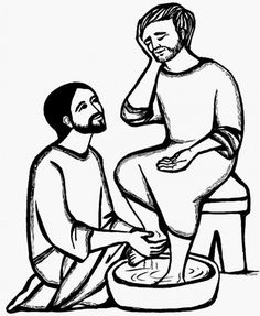 Holy Thursday Washing the Disciples' Feet Catholic Coloring Page @Margaret Feeney Fish we could do some of these for the kids at Seder Super