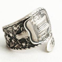 Dallas Ring, Sterling Silver Spoon Ring, Texas Star, Texas Love, Texas Longhorn Bull, Handmade Jewelry, Eco Friendly Custom Ring Size (6398) by Spoonier on Etsy