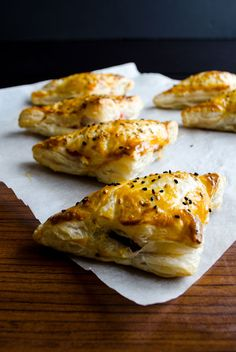 Puff Pastry Pockets with Feta Cheese + Basturma (spicy dry beef, charcuterie) #food #recipe