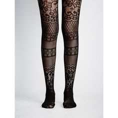 Floral Patch Tight featuring polyvore women's fashion clothing intimates hosiery tights socks free people tights floral tights floral print tights cut out tights floral stockings
