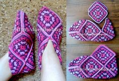 Crochet Granny Squares Patterns Square room shoes by Keiko Okamoto (岡本啓子) Source … More … More Crochet Squares Motifs … Crochet Slipper Pattern, Granny Square Crochet Pattern, Crochet Squares, Crochet Granny, Easy Crochet, Crochet Patterns, Granny Squares, Crochet Boots, Crochet Slippers