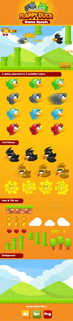 Flappy Duck Game Assets — Vector EPS #cute #android • Download here → https://graphicriver.net/item/flappy-duck-game-assets/8915443?ref=pxcr