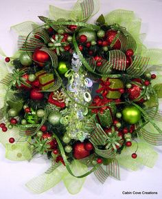 Red Lime green Christmas Tree Wreath LOADED by cabincovecreations, $199.00