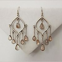 Yoni Flower Earrings, made with sunstone and sterling silver