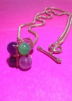 PENDANT/RING  COPPER HAND MADE IN WITH SEMIPRECIOUS STONES -AMETHYST -MALACHITE