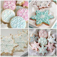 Pastel Christmas Snowflake Iced Cookies