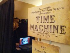 Steam Punk Party ideas:  Love the time machine photo booth, food labels and gear installation