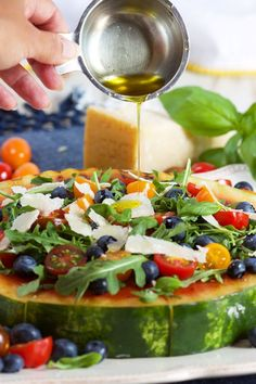 Here's a great summer recipe for Grilled Watermelon Pizza with Blueberries, Parmesan and Arugula. Blueberry Recipes, Fruit Recipes, Summer Recipes, Watermelon Pizza, Grilled Watermelon, Arugula Salad, Caprese Salad, Arugula Recipes, Fruit Cobbler