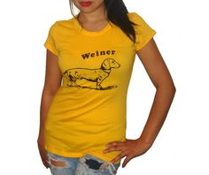 Ladies Funny Weiner Dog Fitted T Shirt