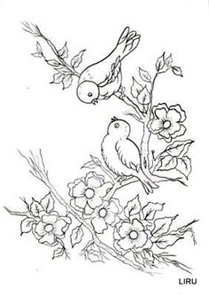 New Embroidery Riscos Rosas Ideas Bird Embroidery, Hand Embroidery Patterns, Vintage Embroidery, Embroidery Stitches, Painting Patterns, Craft Patterns, Fabric Painting, Bird Coloring Pages, Coloring Books
