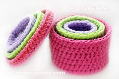crochet nesting boxes.