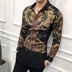 f512751e Luxury Gold Black Shirt Men 2018 New Slim Fit Long Sleeve Camisa Masculina  Gold Black Chemise Homme Social Men Club Prom Shirt