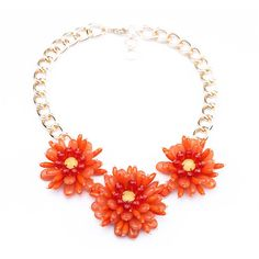 Frosted Youth Statement Necklace - Red ($41) ❤ liked on Polyvore featuring jewelry, necklaces, dot jewelry, statement necklace, flower statement necklace, flower jewelry and red flower necklace
