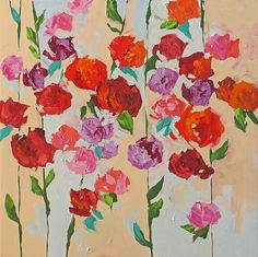 Original Abstract Painting Still Life Floral Painting Landscape Art Acrylic Painting on Canvas Impressionist Roses by Linda Monfort. $360,00, via Etsy.