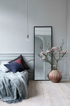 From wood furniture to attractive decor ideas, jazz up your plain bedroom with these inspiring Scandinavian bedroom interior design hacks. Bedroom Furniture, Furniture Design, Bedroom Decor, Mirror Bedroom, Bedroom Ideas, Decor Room, Mirror Mirror, Wood Furniture, Wall Decor