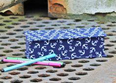 Stiftekästchen, Einschulung Geschenk, Kästchen für Stifte, Schreibtisch, blau weißer Stiftekasten, Stiftekästchen, Blau weiß Anker, maritim