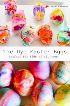 Tie Dye Easter Eggs (Toddler Friendly)-Easy way to decorate Easter eggs without having to worry about a cup of dye spilling.
