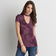 AE Choker T-Shirt ($30) ❤ liked on Polyvore featuring tops, t-shirts, red, american eagle outfitters t shirts, sexy tops, american eagle outfitters, sexy tee and wine top