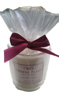 Promotional Glass Votive candles we have just produced for Crowne Plaze.  These are fully bespoke and are available in 12 different fragrances customised label and ribbon to match your corporate branding.  Perfect for Christmas or all year.  A great corporate gift.
