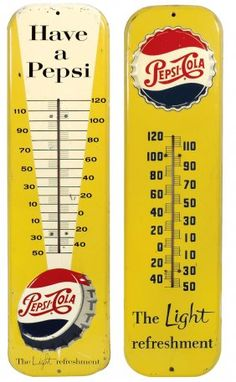 Soda Fountain Thermometers Pepsi-cola, The Light Pepsi Cola, Coke, Advertising Signs, Vintage Advertisements, Soda Fountain, Old Signs, Dr Pepper, Vintage Signs, Alcoholic Drinks