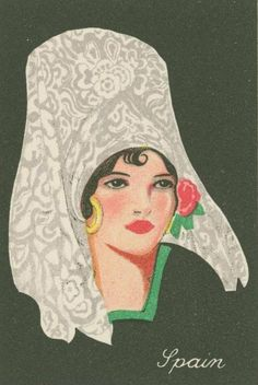 SPAIN _ Cigarette cards from the collection entitled Girls of many lands. Source: NYPL Digital Archives