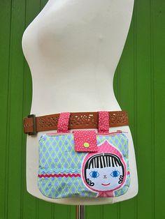 Hüft-  Gürteltaschen - PUPPE(gürteltasche) rosa Hüfttasche - ein Designerstück von Taschenpilz bei DaWanda