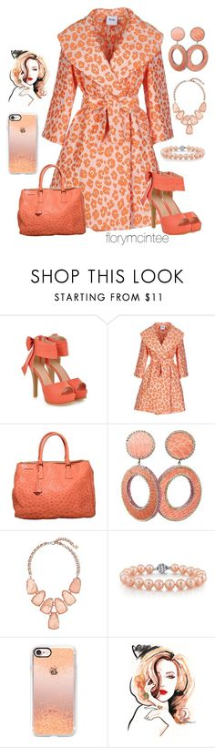 """""""Just Peachy!"""" by florymcintee ❤ liked on Polyvore featuring JY Shoes, Moschino Cheap & Chic, Prada, Kendra Scott, Casetify and Shinn"""