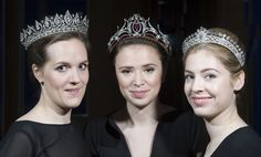 An Art Deco and two Belle Epoque tiaras from the estate of Mary, Duchess of Roxburghe during a preview at Sotheby's, London April 8, 2015. (Photo: Justin Tallis/AFP/Getty Images)
