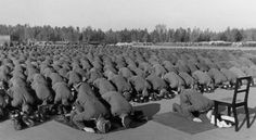 Muslim recruits of the SS Handzar Division pray in 1943 - Hitler wished he was muslim. He admired Ataturk's subordination of religion to the state and his ruthless treatment of minorities. 'It's been our misfortune to have the wrong religion,' Hitler complained to his pet architect Albert Speer. 'Why did it have to be Christianity, with its meekness and flabbiness?' islam was  a mannerreligion - a 'religion of men' - and hygienic too.  The 'soldiers of islam' received a warrior's heaven.