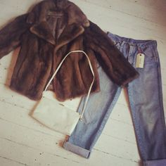 real chocolate brown fur coat  £60.00