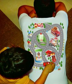 Train Play Mat T Shirt Dad and Son and Daughter Gift Dad Dad to Be New Daddy Toddler Car Shirt Back Massage fun town on Etsy, $18.99