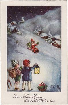 Post Card Hannes Peterson Art Children Sledding In Snow