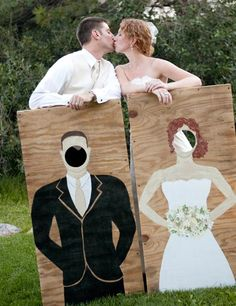 Wedding Photo Booth Idea -- Carnival-Style Board Cutouts