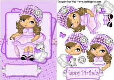 Dolly in a Lilac Hat with her Cat Card Front