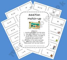 Freebie: This is an addition match-up center that can be used during math centers. Students will try to match the answer with the correct addition sentence. Math Literacy, Guided Math, Homeschool Math, Kindergarten Math, Fun Math, Teaching Math, Math Activities, Teaching Ideas, Teaching Resources