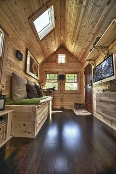 Den ceiling?  This would be cool....like the wood from the walls in our den.